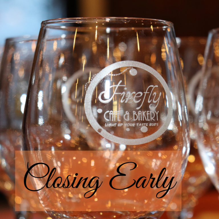 "Image of a wine glass with the text ""Closing Early"""