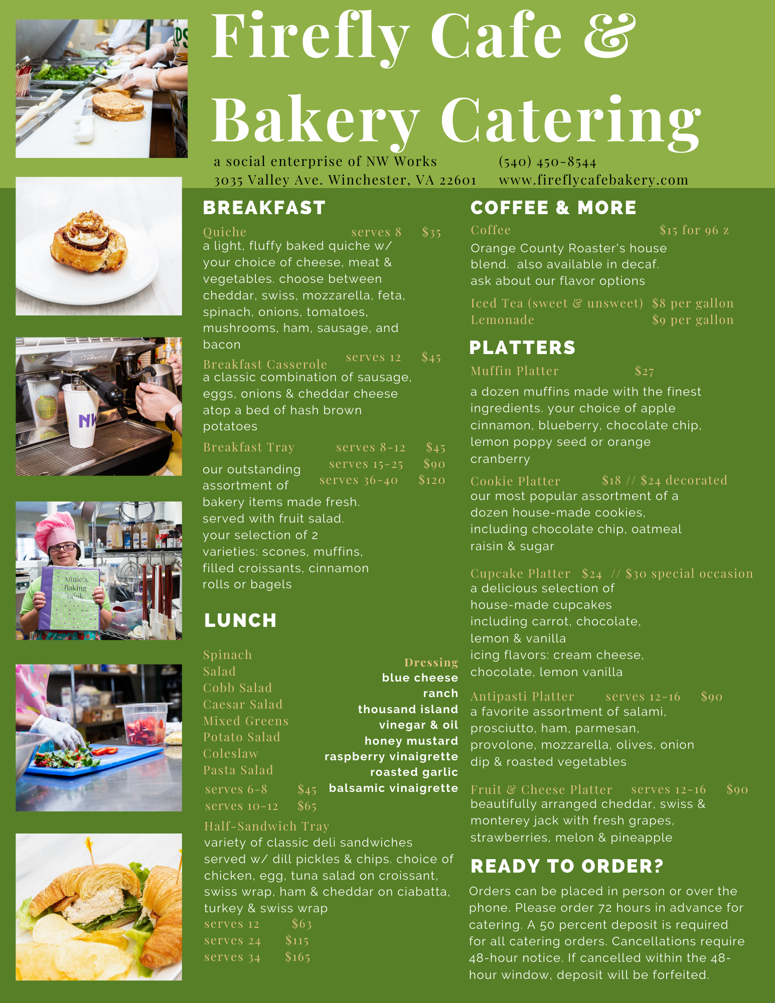 Image of the catering menu. If you are unable to view this item, please contact our team at ewilliams@nwworks.com and Ellie will provide a copy of the menu in text form.
